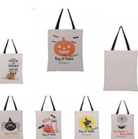 Wholesale Wholesale Canvas Bags Totes - Halloween Gifts Sack Bags Pumpkin Devil Handbags Candy Gift Bags Cartoon Canvas Tote Reuseable Spider Print Shoulder Bag KKA1965
