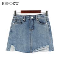 Wholesale Women Mini Jeans Skirt - Wholesale- BEFORW Summer Jeans Skirt Women High Waist Jupe Irregular Edges Denim Skirts Women Mini Saia Washed Faldas Casual Pencil Skirt