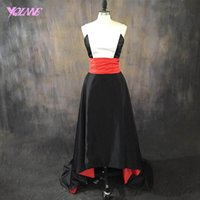 Fashion High Low Real Fotos Red Carpet Celebrity Prom Kleider Jewel Satin Sweep Zug Custom Made
