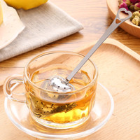 Wholesale Mesh Infuser Spoon - Heart Shaped tea infuser Mesh Ball Stainless Strainer Herbal Locking Infuser Spoon Filter creative Tea Strainers tea tools Seasoning filter