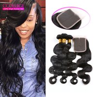Wholesale Malasian Human Hair - Free Shipping Ccollege Hair 3 Bundles Malaysian Body Wave With Lace Closure 8A Unprocessed Malasian Human Hair Weave Extensions #1B Sales