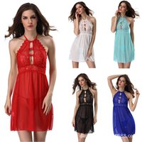 Wholesale Open Dress Erotic - Red Green Blue Black White Nightgown Sexy Lingerie Erotic See Through Lace Open Bust Halter Sleeping Night Dress Women Sleepwear