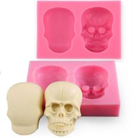 Wholesale Shaped Silicone Rubber Cake Molds - 3D Silicone Skull Fondant Cake Molds Skull Shape Decor Embosser For DIY Mould Baking Tools