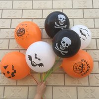 Wholesale Inflatable Skeleton - 100pcs   Lot Halloween Inflatable Balloons Balls Party Favor Latex Air Balloon Christmas Decoration Ornament Pirates Skull Skeleton Pumpkin
