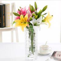 perfume de lirio al por mayor-3 cabezas toque real pvc perfume lirio estilo fresco adornos de escritorio flores artificiales decoración flor de simulación