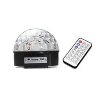 Wholesale Mp3 Led Ball - S5Q LED MP3 DJ Disco Party Club DMX512 Crystal Magic Ball Stage 18W RGB Light AAADHU