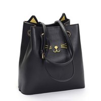 Wholesale Young Phone - New Cat Ear Design Drawstring PU Material Ladies Shoulder Bags Young Women Fashion bags High capacity
