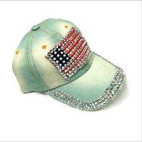 denim usa jeans großhandel-Einstellbarer Hut Denim Diamond USA Nation Flag Design Jean Baseballmütze Hip Hop Jean Hats Einstellbare Fashion Caps Gebogene Baseballmütze