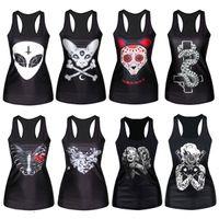 Wholesale Shirt Woman Pattern - Wholesale-Gothic Punk Vest Tee Top Women Multi-Pattern Print Clubwear Sleeveless T-Shirt