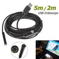 Wholesale Endoscope Borescope Camera - Portable 5m Cable 7mm Lens Waterproof Mini USB Endoscope camera Inspection Camera Borescope Tube Snake Scope 6 LEDs EGS_015