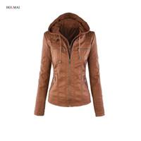 Wholesale Leather Sleeves Jacket Women Xxl - Wholesale- 2016 Autumn Women Basic Coat Winter Long Sleeve Khaki Faux Leather Jacket Ladies Slim Warm Outwear Zipper Plus Size Clothing xxl