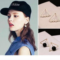 Wholesale Wholesale Jewelry Magazines - 2017 Fashion Black And White Pearl Earrings Ear Jewelry Korea First Wholesale Jewelry Magazines Wind Handsome Modern Geometric Triangles