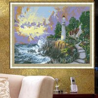 Wholesale Natural Oil Paintings Canvas - YGS-443 DIY Full 5D Diamond Embroider The Natural Round Diamond Painting Cross Stitch Kits Diamond Mosaic Home Decor