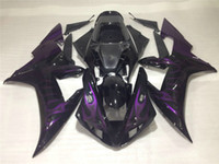 púrpura yamaha r1 al por mayor-Kit de carenado de alta calidad para Yamaha YZF R1 2002 2003 purple flames carenados negros set YZF R1 02 03 OT24