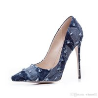 Summer New Denim Shallow Women Pumps Slip On Ladies Abito da sposa Scarpe Donna Pointed Toe 12cm Stiletto High Heels Shoes Donna pumps