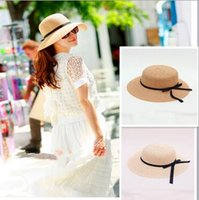 Wholesale hat tie - 2 Colors Sun Hat Women Summer Foldable Wide Straw Cap For Women Beach Resort Headwear Brim Caps Wide Brim Hats CCA6086 60pcs