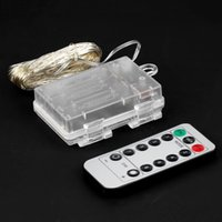 Wholesale Lighted Decorative Boxes Wholesale - Wholesale- 10M 100 LED 3AA Battery Silver Wire String Light Fairy Lamp Decorative Light With 8 Function Remote Control And Battery Box