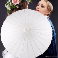 Wholesale Wholesale Paper Parasol Umbrellas - 3 Size White Bamboo Paper Umbrella Parasol Dancing Wedding Party Coasplay Art