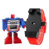 reloj deportivo digital para niños al por mayor-Niños LED Digital Niños Reloj de dibujos animados Relojes deportivos Relogio Robot Transformation Toys Boys Relojes de pulsera Envío de la gota