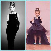Wholesale Lovely Baby Model - Lovely Little Black Baby Flower Girl Dresses Audrey Hepburn Style Jewel Neck High Low Satin Tulle Kids Formal Wear First Communion Dresses