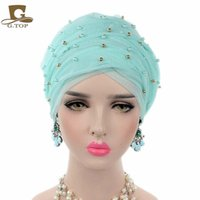 Wholesale Wholesale Beaded Ties - 2017 New Women Luxury Gold Beaded Mesh Long Head Wrap Turban Hijab Long Tube Head Scarf Tie Headscarf Ladies Turbante