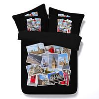 cama foto 3d venda por atacado-2 Estilos de Fotos de Viagem 3D Impresso Conjuntos de Cama Gêmeo Completa Rainha King Size Colchas Lençóis Edredon Capas Diferentes Edifícios Castle3 / 4PCS