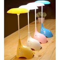 ingrosso luce elefante del bambino-Cute Elephant Bambini Night Lights flessibile Angles Desk Lamp - Design pulsante Touch Sensor Control a 3 livelli - Ricaricabile - per bambini, neonati