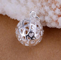 Wholesale 925 Necklace Bracelet Hollow Ball - 50pcs plating 925 Sterling Silver Small Hollow Stereo ball Pendants 2.2*1.4CM Charms Pendants Jewelry High Quality Fit Bracelet Necklace
