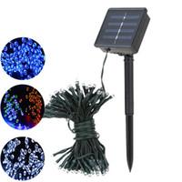 luzes pingente de bateria venda por atacado-22 M 200led 12M 100LED Led Solar luz da corda RGB única cor Decoração Luz para o Jardim de Natal luz Férias Ao Ar Livre Fada ZJ0241