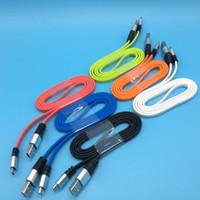cordon de nouilles pour micro achat en gros de-Aluminium Shell USB Head Noodle Chargeur plat Câble de charge Cordon Pour Téléphone Tablet LOT