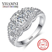 Wholesale Fine Cz Jewelry - YHAMNI Fine Jewelry Solid 925 Sterling Silver Wedding Rings Set Sona CZ Diamond Engagement Rings Brand Jewelry for Bride R173