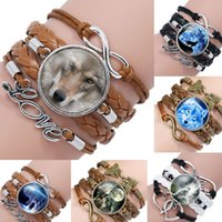 Wholesale Wolf Charms For Bracelets - 2017 The New Vintage Multilayer Braided Wolf Fox Love Heart Leather Infinity Bracelets For Women Girls Lover Gifts