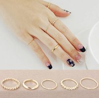 Wholesale Halloween Knuckle Rings - Midi Rings Simple Gold Tone Fingers Rings Midi Knuckle Ring for Women 3Pcs Set New Fashion Rhinestone Rings