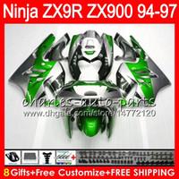 1997 kawasaki ninja zx9r fairings toptan satış-8Gifts KAWASAKI NINJA ZX900 ZX9R ZX9R 94 95 96 97 900CC Için 23 Renk Yeşil gümüş 49HM24 ZX-9R ZX900C ZX 9 R ZX 9R 1994 1995 1996 1997 Fairing kiti