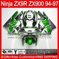 Wholesale zx9r 1995 - 8Gifts 23Color For KAWASAKI NINJA ZX900 ZX9R 94 95 96 97 900CC Green silver 49HM24 ZX-9R ZX900C ZX 9 R ZX 9R 1994 1995 1996 1997 Fairing kit