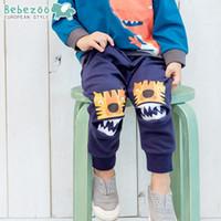 Wholesale Cute Harem Pants Pockets - Korean New Brand Baby Pants Cute Tiger Patch Cartoon Printed Trousers PP Pants Cotton Infant Long Pants Toddler Clothing 4 Colors A7130