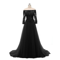 Wholesale Three Quarter Sleeve Evening Gowns - A Line Black Appliques Evening Dress 2017 Off-Shoulder Beadings Tulle Three Quarter Sleeve Long Formal Gowns Custom Made Top Selling