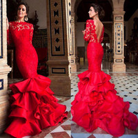 Wholesale long dark green skirt - Jewel Neckline Ruffled Mermaid Evening Dresses With Long Sleeves Lace and Satin Ruffled Skirt Red Prom Dress vestidos longos de festa
