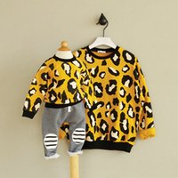 Wholesale Girls Leopard Jumpers - Mother and dauther sweatshirt fashion girls leopard grain printed princess pullover womens long sleeve jumper family autumn clothing T0190