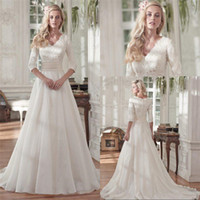 Wholesale White Lace Modest Wedding Dresses - Modest Beaded Lace A Line Wedding Dresses 2017 with Half Sleeves Vintage V Neck Sequin Ruched Organza Plus Size Covered Buttons Bridal Gowns