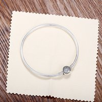Wholesale Silver Barrel Beads - Fit European Beads Pandora 3mm 16-21cm 925 Silver Not Plated Heart CZ Bracelet Snake Chain with Barrel Clasp Bracelets With Stamp DIY