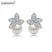 Wholesale Whoesale Wedding - Whoesale Hot sale Women Luxurious Pearl Earrings with Clear Cubic Zircon Paved For Brides Wedding Free Shipping LUOTEEMI