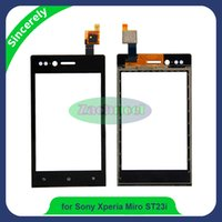 Wholesale St23i Touch - Touch Screen Digitizer for Sony Xperia Miro ST23 ST23i ST23a Front Touch Glass Lens Panel With Sensor Replacement Black
