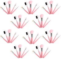 Wholesale hair color kits - 10sets Lot Mini 5pcs Makeup Brushes Cosmetics Tools Eyeshadow Face Cosmetic Makeup Brush Blush Soft Brushes Kit Pink Color