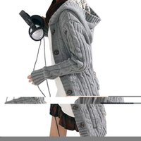 Wholesale thick hooded cardigan sweater - Wholesale-Women Long Sleeve Winter Warm Sweater Knitted Cardigan 2016 Fashion Loose Sweater Outwear Jacket Coat With Belt