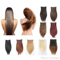 Wholesale Hair Clips Cheap Price - Resika Clip In Hair Extensions Brazilian Human Hair 20 22 24inch #613 Blonde Straight Hair Extensions 70g-220g 7pcs Set Cosplay Cheap Price