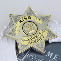 Wholesale Amber Resin Insect - Hot Movie The Walking Dead Uniform Star King County Sheriff Letter Badge Gaes Cosplay Pin Shirt Brooch Jewelry Freeshipping