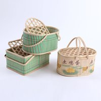 Wholesale Bamboo Picnic - bamboo egg packaging basket storage box Fruit Rattan Storage Box For Cosmetics food picnic basket Handiwork Fashion kitchen accessories