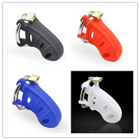 Wholesale Cock Cage Silicone - 2017 New 4 Colors Medical Silicone Male Chastity Cages Cock Cage Penis Ring,Penis Lock Chastity Belt Adult Games Sex Toys For Men