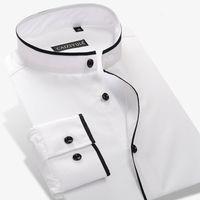 mandalina yaka elbiseleri uzun kollu toptan satış-Toptan-Erkek Mandarin Yaka Gömlek% 100 Pamuk Uzun Kollu İnce Düz Renk Erkek İş Casual Elbise Gömlek